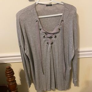 EarthBound Waffle Knit Gray Top